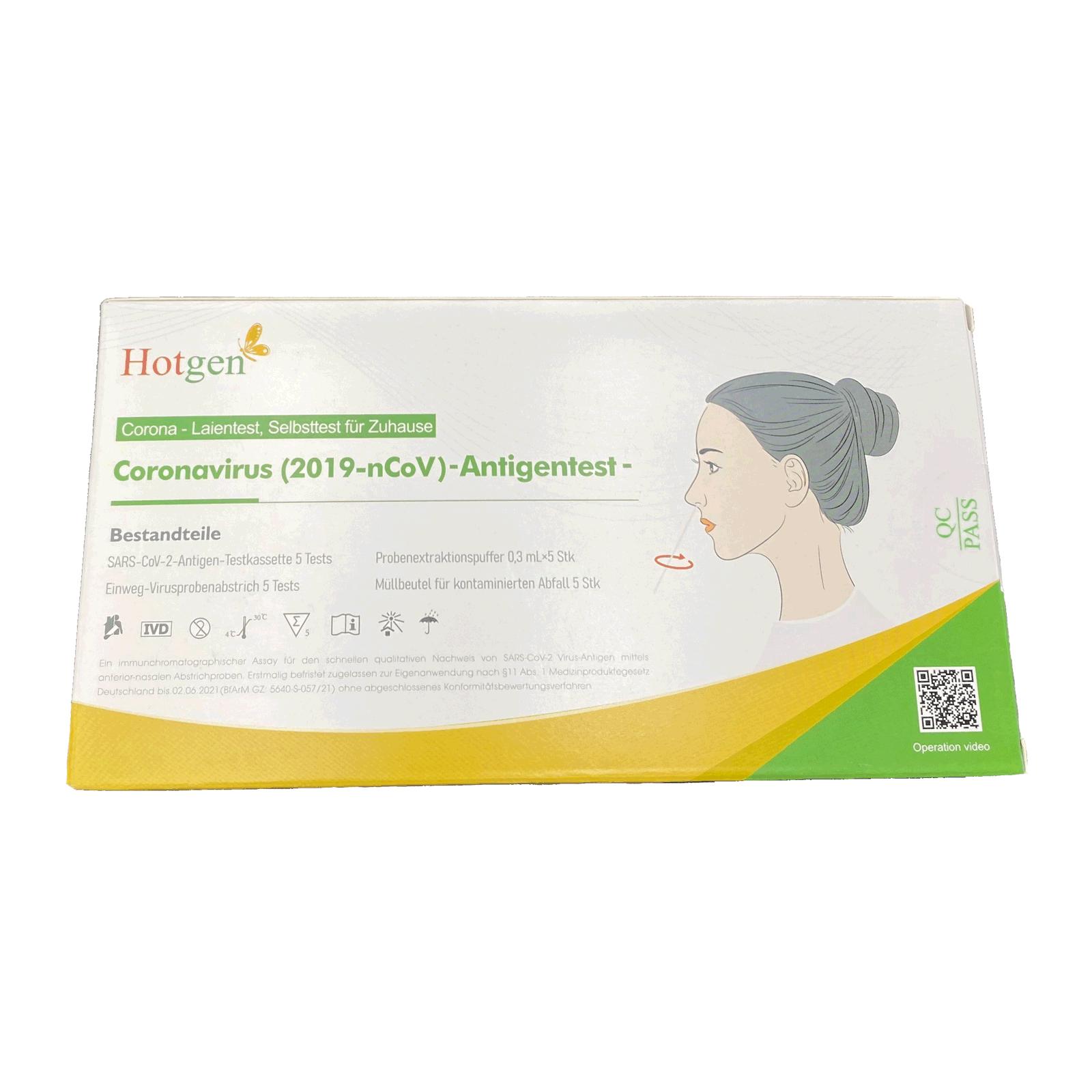 Hotgen 2019-nCoV Antigen Corona Schnelltest Laientest (5er Packung)